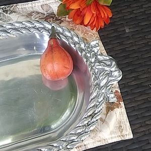 Vintage Dining - Beautiful silver tone kitchen tray.
